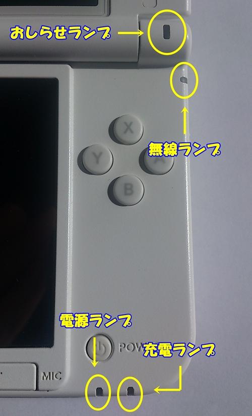 3dsのランプの色について ゲーム機の説明書